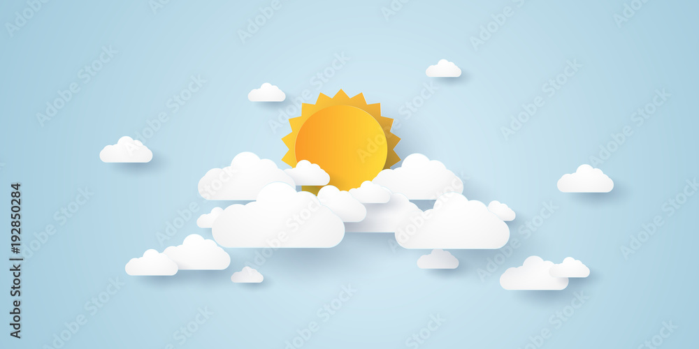 Fototapety, obrazy: Cloudscape , blue sky with clouds and sun , paper art style