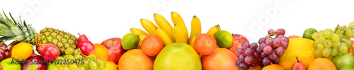 Poster Fruit Collection fruits isolated on white background. Panoramic collage. Wide photo with free space for text.