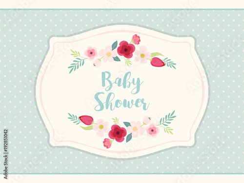 Obraz Cute shabby chic frame with roses on polka dots background - fototapety do salonu