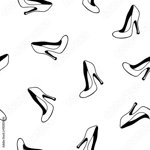 Vogue Style Hand Drawn High Heels Shoes Wallpaper Glamour Fashion Seamless Pattern Elements