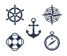 Set Of Marine, Maritime Or Nautical Icons