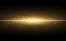 Abstract Stylish Light Effect On A Black Background. Gold Glowing Neon Line. Golden Luminous Dust And Glares. Flash Light. Luminous Trail. Vector Illustration