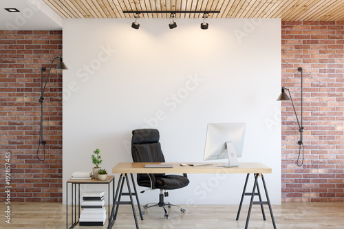 Poster Wand wall mock up interior. Wall art. 3d rendering, 3d illustration