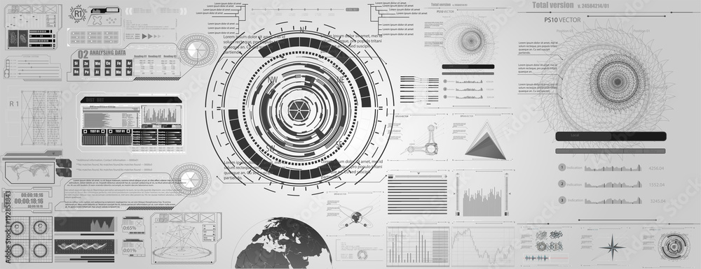Fototapety, obrazy: set of black and white infographic elements. Head-up display elements for the web and app. Futuristic user interface.