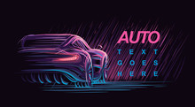 Neon Modern Car Illustration. ...