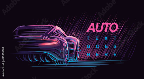 Photo Neon modern car illustration. Vector.