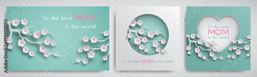Fotografie, Obraz  Set of greeting card for mother's day with congratulations text