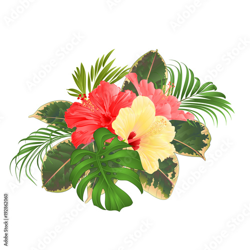 Bouquet With Tropical Flowers Hawaiian Style Floral Arrangement