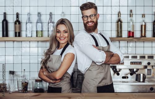 Fotografie, Obraz  Couple of barista in coffee shop