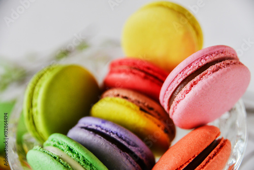 Poster Dessert bright colored macaroons, French dessert, close-up, macro