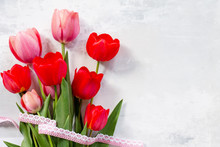 Red And Pink Tulips Flower Bac...