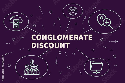 Fotografie, Obraz  Business illustration showing the concept of conglomerate discount