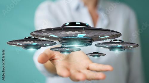 Photo sur Toile UFO Businesswoman with retro UFO spaceship 3D rendering