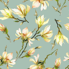 FototapetaYellow magnolia flowers on a twig on light green background. Seamless pattern. Watercolor painting.
