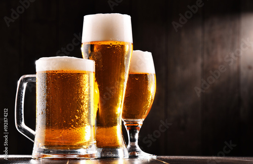 Poster Biere, Cidre Composition with three glasses of lager beer