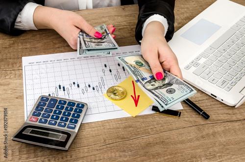 Bitcoin Money Man Laptop Calculator Pen On The Table