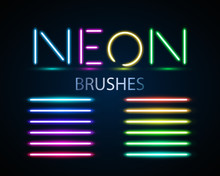 Neon Brushes Set. Set Of Color...