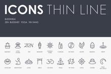 BUDDHISM Thin Line Icons