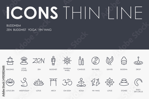 Fotografia  BUDDHISM Thin Line Icons