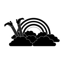 Leg Of Leprechaun Rainbow Clouds Magic Traditional Vector Illustration Black And White Image