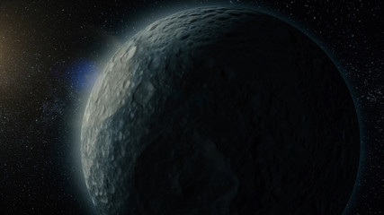 Planet or satellite in space. Unexplored planets of faraway space. Deep space. Universe scene with planets. Solar sistem