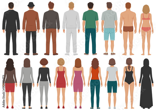 Obraz vector illustration of back view people group, man, woman standing characters, business  isolated person - fototapety do salonu