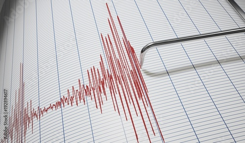 Canvas-taulu Lie detector or seismograph for earthquake detection