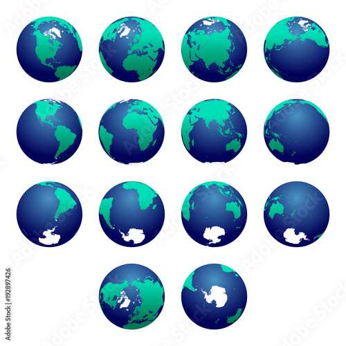 South Pole World Map.Planet Earth Vector Illustration Detailed Earth S Hemispheres Maps
