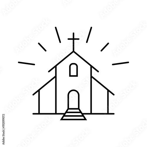 Leinwand Poster church religion tower black line icon on white background