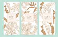 A Set Of Packaging Templates With Gold Flowers For Luxury Products. Design Template Of Leaflet Cover, Flayer, Card For The Hotel, Beauty Salon, Spa,restaurant, Club.