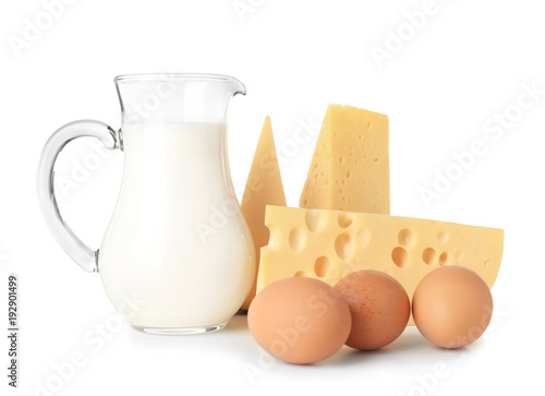 Canvas Prints Dairy products Dairy products and eggs on white background