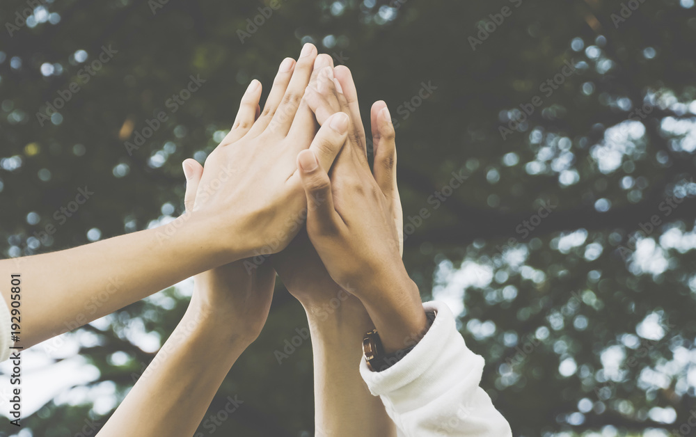 Fototapeta Team work and together concept, Hand of people high five for tag team