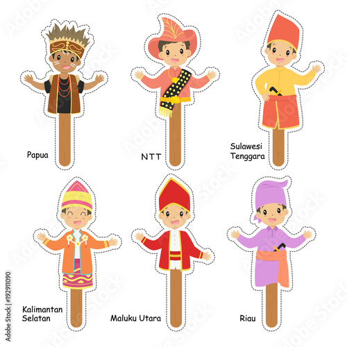 picture about Printable Puppet referred to as Indonesian gentleman puppet individuality mounted, within just regular dresses