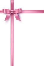 Pink Bow And Ribbons On White ...