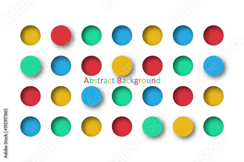 Abstract 3d Colorful Circle Tile In Paper Cut Concept For