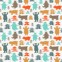 Funny Animal Seamless Pattern Made Of Cute Bears In Forest