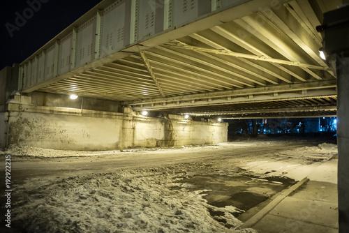 Canvas Prints Narrow alley Vintage city bridge street tunnel at night.