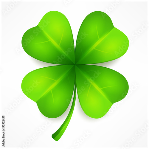 Fotografia, Obraz Lucky clover leaf, four isolated on white, for St. Patrick's