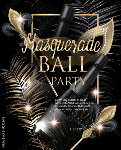 masquerade party invitation card with carnival deco objects gold and black vector illustration