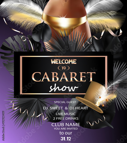 Fotografia CABARET SHOW INVITATION CARD WITH YOUNG WOMEN IN  GOLDEN PANTIES, FEATHERS AND TROPICAL LEAVES