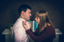 Wife Finded Red Lipstick On Shirt Collar - Infidelity Concept