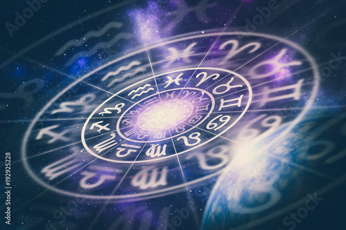 Canvas Astrological zodiac signs inside of horoscope circle