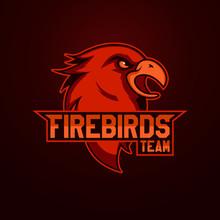 Modern Professional Logo For Sport Team. Firebird Mascot. Firebirdss, Vector Symbol On A Light Background.