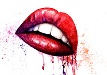 Watercolor Picture. Lips