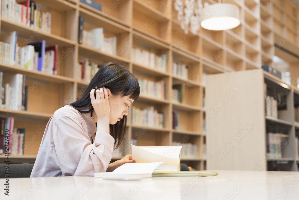 Fototapeta 図書館で勉強する 女子大生