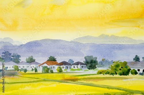 Fotobehang Geel Painting village and rice field in the morning