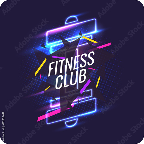 Plakat Modern neon poster for sports and fitness club.