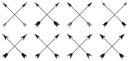 Arrows collection in cross style on white background