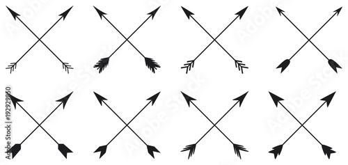 Fényképezés Arrows collection in cross style on white background