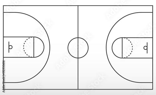 Obraz Basketball court markup. Outline of lines on basketball court. - fototapety do salonu